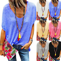 Plus Size Womens V Neck T Shirt Ladies Casual Loose Short Sleeve Blouse Tops Tee