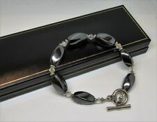 Real grey hematite natural gem stone crystal ladies bracelet in black gift box