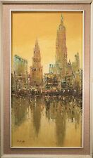 Midcentury Chinese Oil Painting on Canvas, Tall City Scape w/ Gallery Lebel!