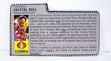 VINTAGE CRYSTAL BALL FILE CARD G.I. Joe Action Figure AWESOME SHAPE 1987