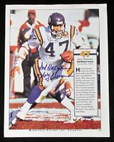 "JOEY BROWNER ""GOD BLESS YOU"" Signed 8.5 x 11 MINNESOTA VIKINGS Photo COA"