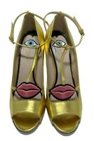 NEW, GUCCI x DISNEY GOLD 'MOLINA' PUMPS WITH LIPS, 39.5, $1350