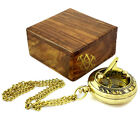 Sundial Compass in Wooden Box Nautical Pocket Watch Vintage Gift For Mom Dad Son