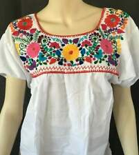 Embroidered blouse, peasant, floral, mexican blouse, frida kahlo hand made White