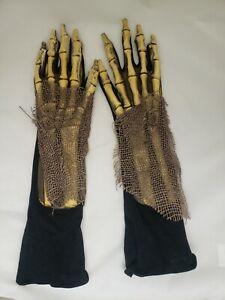 Skeleton Death Undead Zombie Reaper Hands Adult Halloween Costume Gloves