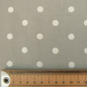 GREY & WHITE POLKA DOT FABRIC REMNANT 50 cms x 112cms  POLY COTTON PATCHWORK