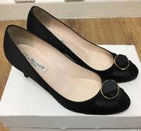 Ladies L. K. Bennett Shoes Black Satin Smart Size 38 EUR 5 UK