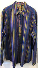 robert graham blue colorful striped shirt. geometric cuff. Paisley 2XLT