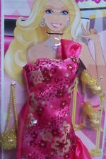 MATTEL BARBIE FASHIONISTA PINK SPARKLY GOWN WITH SHOES & PURSE - SHIPS FREE!