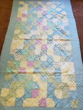 Vintage 1940's BOW TIE Blue Quilt Trundle Baby 47x82 Hand done patchwork