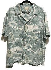 Vtg Trader Bay Hawaiian Tropical Button Shirt XL Blue Beach Palm Trees Aloha