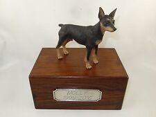 Beautiful Paulownia Small Wooden Personalized Urn With Blk/Tan Min Pin Figurine