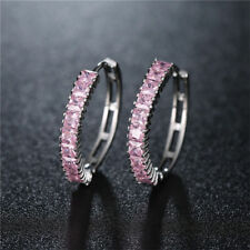 Valentine's Jewelry Lady Rectangle Natural Pink Topaz Gems Silver Stud Earrings