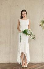 Elegant Hi-Low Lace Beach Wedding Dress Ivory White Bridal Gowns Custom 2 4 6 8+