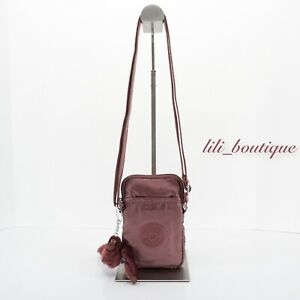NWT Kipling KI0272 Tally Mini Crossbody Phone Bag Polyamide Dark Maroon Metallic