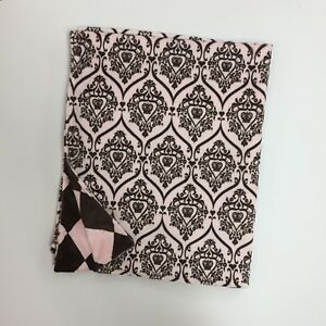 """BABY BLANKET PINK AND BROWN MINKY 30"""" X 36"""" DIAMONDS AND CROWNS AND HEARTS"""