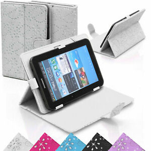 Faux Leather Stand Flip Case Cover for Samsung, Amazon, Lenovo Tablet iPad White