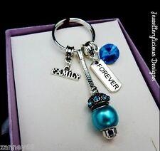Beautiful FAMILY FOREVER Blue Rhinestone Keyring Key Ring