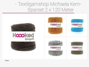 €0,07/Meter Bobbiny Hoooked Sparset Textilgarn Zpagetti Hooked 2x120 Meter