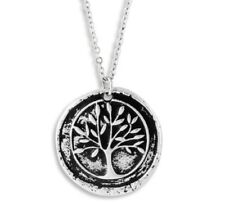 NEW Oxidized Silver Tone Tree of Life Pendant Necklace with Life Script