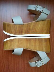 New STEVE MADDEN Leather Wedge Light Sandals Heels SZ 35 UK / 5 US NWT