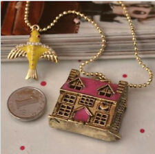 N171 BETSEY JOHNSON Castle Doll House Palace Mansion Chateau w/ Bird Necklace US