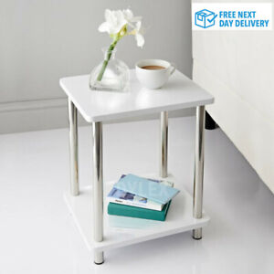Small 2 Tier White Gloss Finish Side Table with Shelf Bedroom Coffee End Table