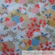BonEful FABRIC FQ Cotton Quilt VTG Cream Pink Asian Yellow Flower Blue Butterfly