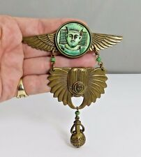 JAN MICHAELS  EGYPTIAN REVIVAL Gold Tone RUNWAY BROOCH PIN Haute Couture