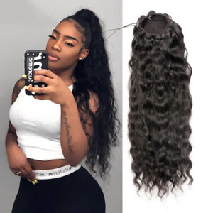 Human Extensions Drawstring ponytail Hair Extensions straight/wavy/curly  hair
