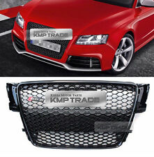 RS5 Style Black Frame Grille Mesh Ring Chrome Emblem for AUDI 2007-2012 A5 / S5