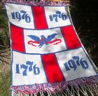 Vtg 1776 USA Americana Red White Blue Afghan Crochet Blanket Throw Patriotic
