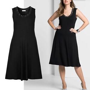 wow elegant Gr.50/52 Jerseykleid Kleid Shirtkleid SCHWARZ Perlchen Abend