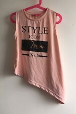 Primark Girls Pink Nude Style Icon Asymmetrical T Shirt Sleeveless 8-9 Years