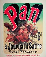Jules Cheret: Pan, Diario Of Satire - Litografía Original, Firmada 1897
