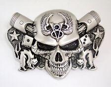 1932 Ford Winged V8 Flathead Evil Skull Belt Buckle Piston Rockabilly Rat Rod