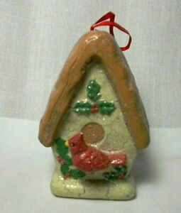 Glittered Birdhouse Cardinal Christmas Ornament 4 1/2""