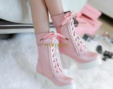 Cute new lady lace high platform thick heels middle calf brother boots