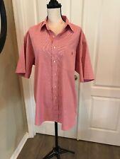 RALPH LAUREN Short Sleeve Red Button Down Golf Shirt Size XL  _152