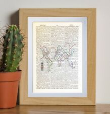 World Metro Map dictionary page art print vintage gift antique bookE51