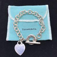 "7"" Tiffany & Co. Sterling Silver (925) Heart Toggle Bracelet"