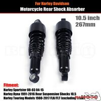 """2X 10.5"""" 267mm Black Adjustable Rear Shock Absorbers Kit For Harley Dyna Touring"""