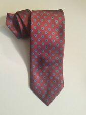 Men's Wembley 100% Silk Tie Red w/ Blue Paisleys Classic Length Vintage
