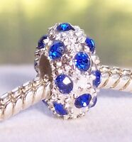 September Birthstone Blue Rhinestone Spacer Bead fits European Charm Bracelets