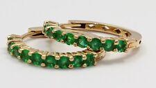 14k Yellow Gold Green Stone Ladies Hoop Earrings