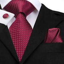 USA Red Novelty Plaid Men's Tie Set Silk Necktie Jacquard Woven Wedding Formal