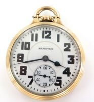 .RARE ONLY 63,900 MADE / 1939 HAMILTON 992E 16S 21J RRGRADE 10K GF POCKET WATCH.