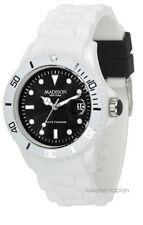 Madison New York White Fashion Schwarz Unisex Damen Herren Uhr Silikon