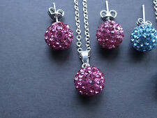 UK Jewellery Shamballa Type Stud Drop Earrings Necklace Pendant Sets / Bracelets