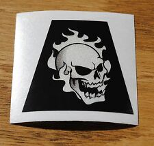 Firefighter Helmet Decal Tetrahedron Reflective SINGLE Skull/Flame (Qty:1) #TE05